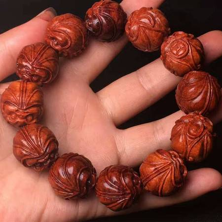 简之新款正宗印度小叶紫檀老料2.0手工精雕刻福禄寿男款佛珠手串