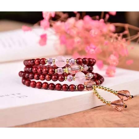 工艺新款鸡血红小叶紫檀多圈手链搭配粉晶水晶0.6*108颗