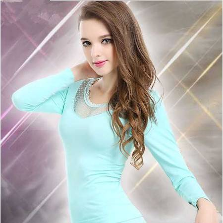 保暖内衣女士蕾丝V领无缝美体套装 女式塑身秋衣