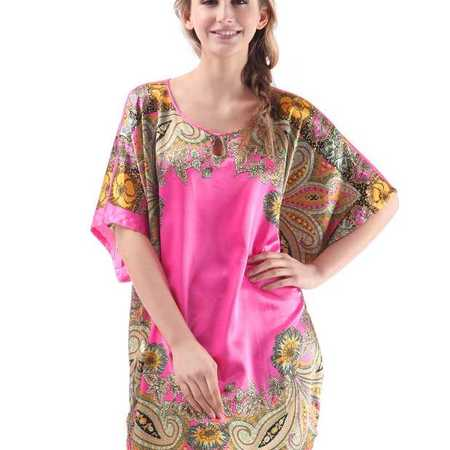 夏季青花瓷睡裙 丝绸贵妇气质 仿真丝睡衣