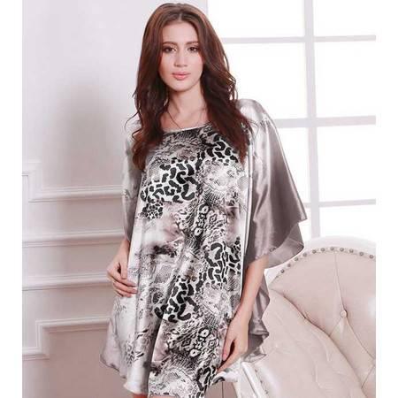 新款大码特色家居服 欧美油画艺术 性感豹纹蝙蝠袖丝绸睡衣