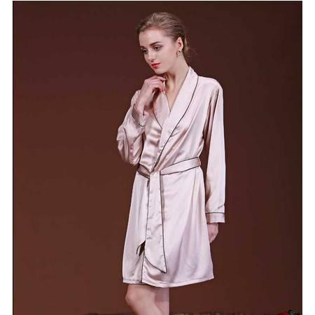 仿真丝长袖丝绸睡袍/外袍
