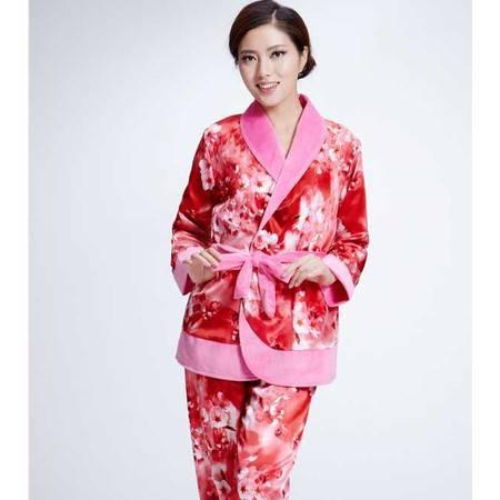 经典爆款珊瑚绒睡衣女士秋冬款长袖法兰绒套装休闲家居服