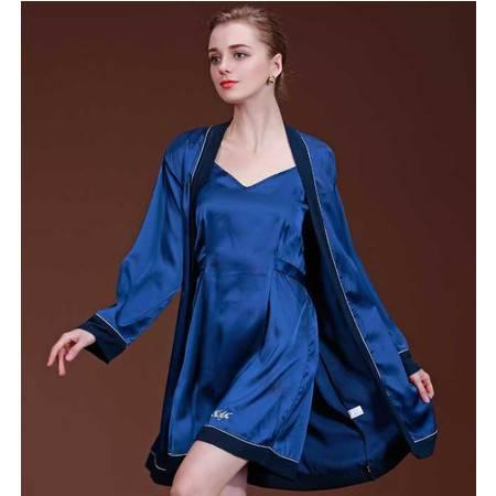 新款仿真丝睡衣女士睡衣春秋季家居服素色高贵两件套套装