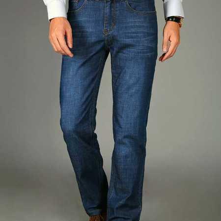 春夏薄款牛仔裤男装中腰直筒商务都市牛仔长裤子