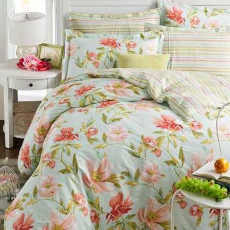 床上用品被枕套全棉斜纹四件套 纯棉小碎花床单被套床品