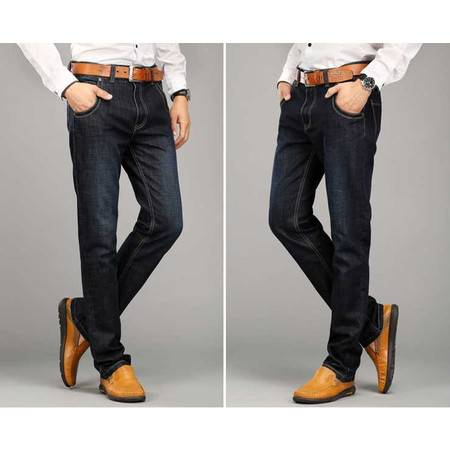 新款牛仔男裤修身直脚牛仔长裤子青年男装小直筒牛仔裤春季新