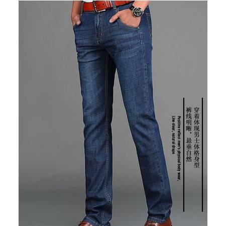 蓝色牛仔裤修身直筒弹力牛仔男裤正品男装长裤子