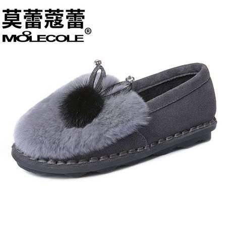 真皮加绒保暖棉鞋反绒牛皮瓢鞋一脚套厚底懒人女鞋秋冬兔毛豆豆鞋