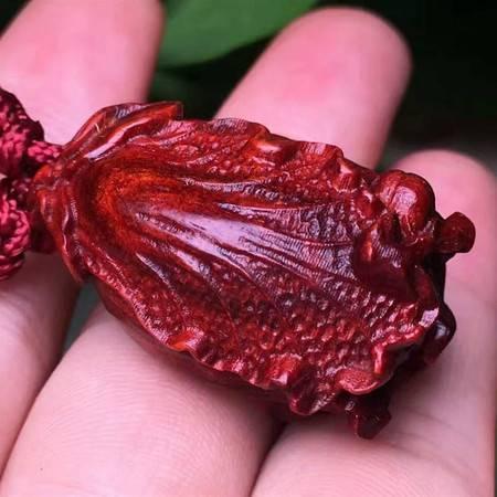 简之 新款正宗印度小叶紫檀高油密老料精致小巧小白菜钥匙扣手把件