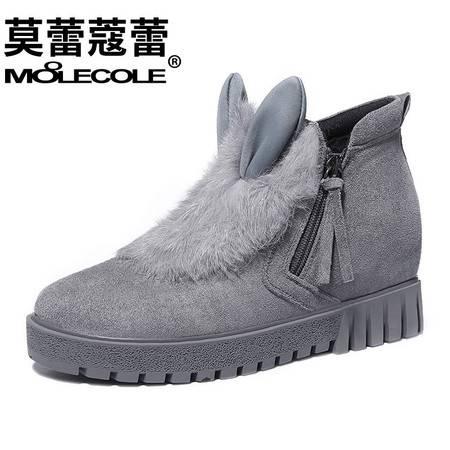 冬季新款皮毛一体雪地靴短靴棉靴兔毛真皮学生内增高女鞋潮