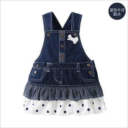 秋装新款 牛仔背带裙子0-4岁婴幼童装女宝宝纯棉衣服