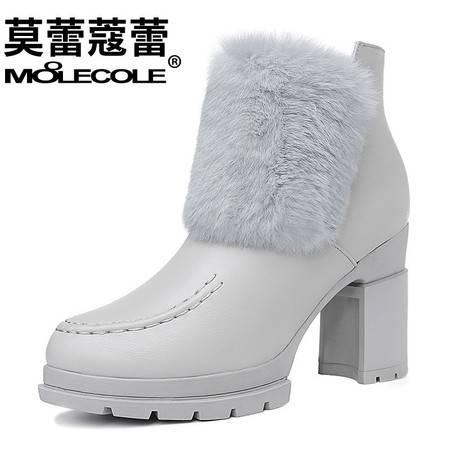 兔毛马丁靴粗跟高跟女鞋加绒保暖防水台短靴子侧拉链韩版短筒女靴