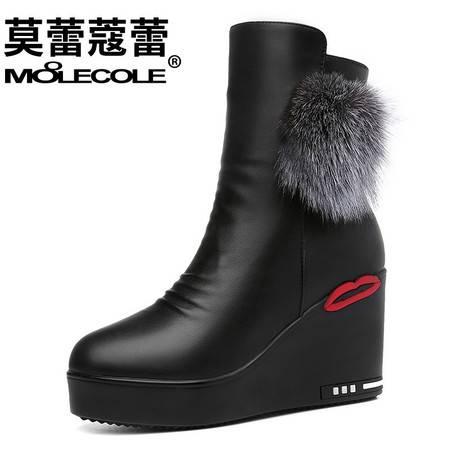 雪地靴女短筒保暖棉鞋坡跟短靴女靴新款冬季女鞋厚底女士靴子