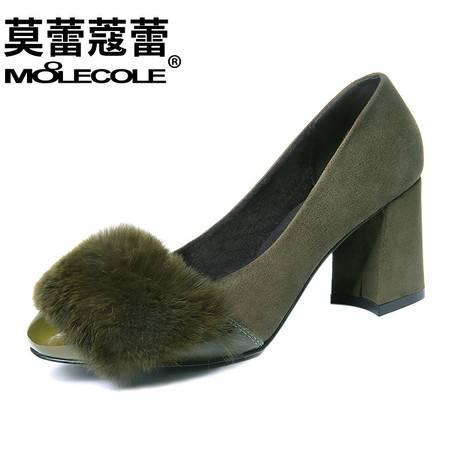 高跟单鞋女粗跟浅口圆头女鞋秋冬新款加绒毛绒百搭绒面鞋子潮