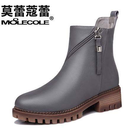 新款女鞋英伦马丁靴短靴女百搭粗跟双拉链裸靴单靴靴子潮