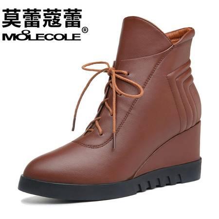 女鞋休闲尖头高跟靴子短靴坡跟侧拉链时装马丁靴