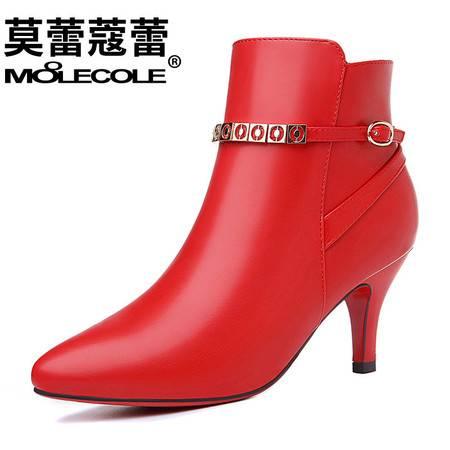 女鞋短靴欧美中跟尖头侧拉链靴子细跟休闲马丁靴