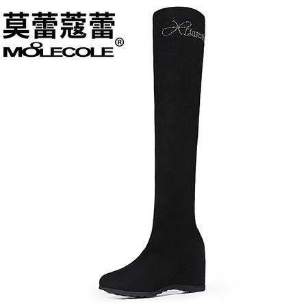过膝长靴坡跟高筒靴内增高女靴子长筒靴瘦腿弹力靴