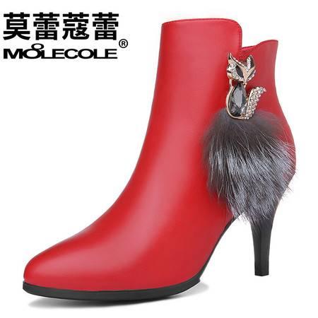 冬女鞋休闲高跟靴子侧拉链短靴欧美细跟尖头马丁靴