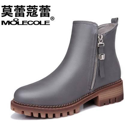 女鞋靴子粗跟英伦休闲单靴侧拉链短靴女圆头马丁靴潮