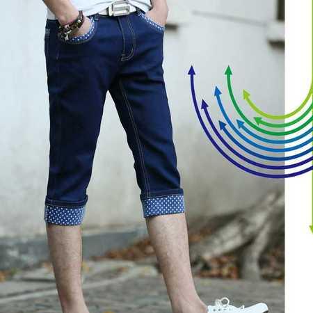 男式牛仔裤七分中厚韩版修身靓仔装裤子潮流时尚牛仔裤夏季薄款