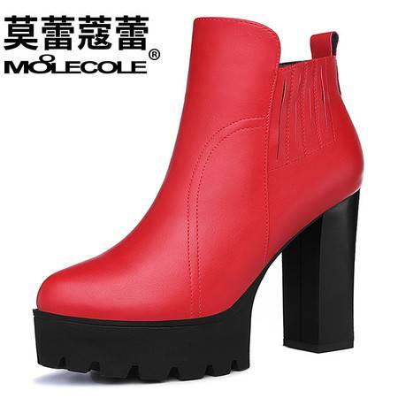 粗跟短靴女单靴高跟时装女靴新款百搭防水台厚底短筒靴子
