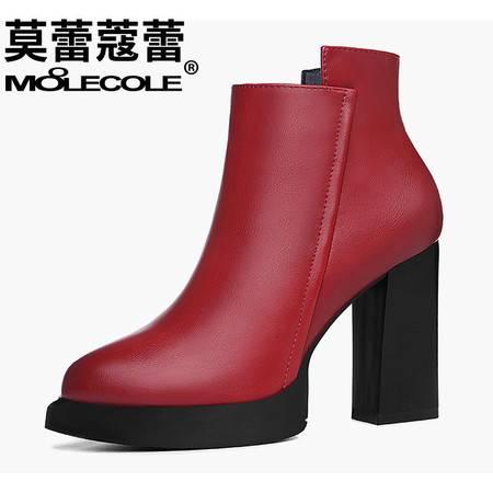 新款女鞋高跟欧美侧拉链短靴休闲韩版粗跟马丁靴