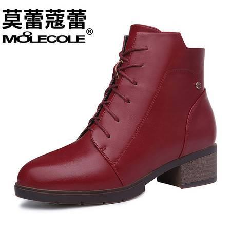 新款女鞋靴子休闲圆头低跟短靴侧拉链韩版马丁靴