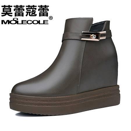 女鞋韩版侧拉链坡跟短靴内增高靴子时装靴潮