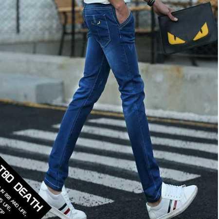 春季新韩版潮流时尚牛仔装青年男式牛仔长裤子弹力小脚修身薄款男