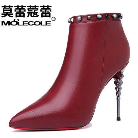 性感尖头短筒女靴高跟浅口短靴细跟百搭水钻马丁靴单靴潮