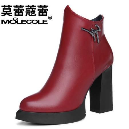 新款短靴粗跟马丁靴皮鞋高跟单靴防水台秋鞋英伦风女鞋潮