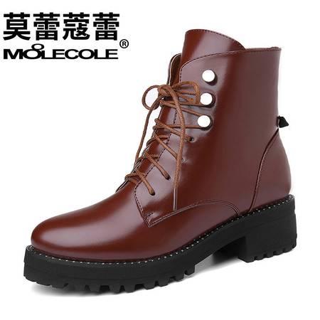 马丁靴粗跟短筒女靴中跟短靴系带单靴防水台新款百搭街头女鞋