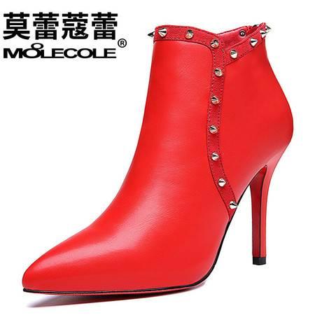 时尚性感高跟鞋新款欧美风及踝靴铆钉细跟尖头短筒靴