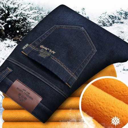 男式牛仔裤冬季加绒加厚款弹力保暖牛仔长裤子潮