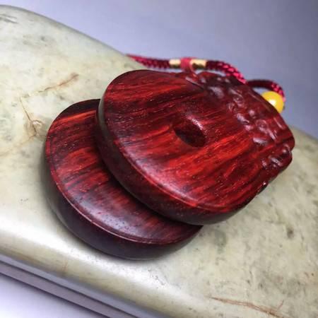 简之 正宗印度小叶紫檀木雕挂件平安古币款吊坠配饰挂饰护身符新款