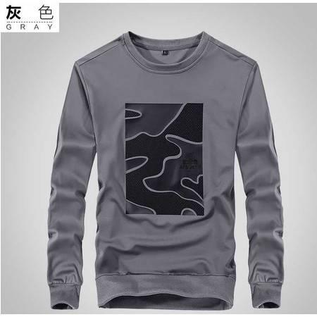男式T恤 秋冬男士长袖T恤男式纯棉圆领休闲大码t恤衫