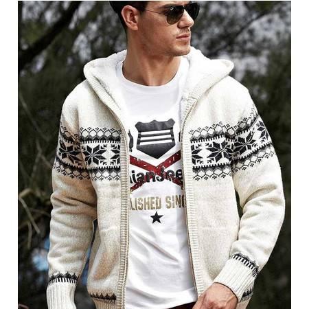 加绒加厚毛衣 秋冬男装新款英伦时尚带帽保暖大衣外套