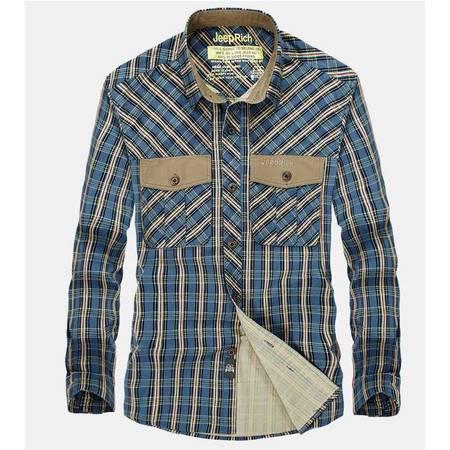 秋冬品牌男式衬衫休闲格子男式长袖衬衫