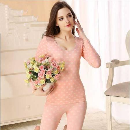 蕾丝花边无缝薄款美体塑身女士保暖内衣套装圆点秋衣秋裤