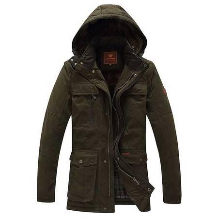 品牌男装秋冬新款纯棉男式棉衣加绒中长款保暖外套