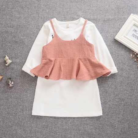 秋款童装外贸原单韩版童装童T恤童打底衫两件套