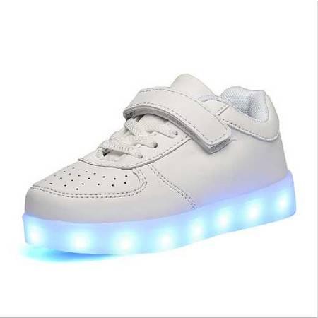 夜光发光荧光七彩LED男女童休闲系带低帮板鞋USB充电灯光鞋