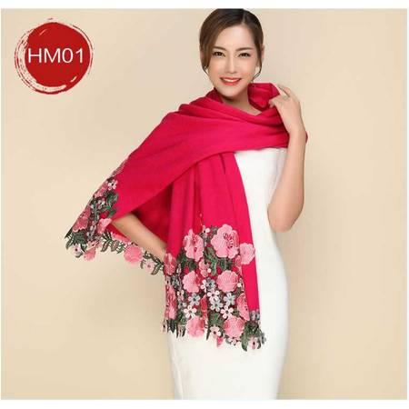 羊毛围巾女 秋冬季加大加厚纯羊毛绣花大红披肩