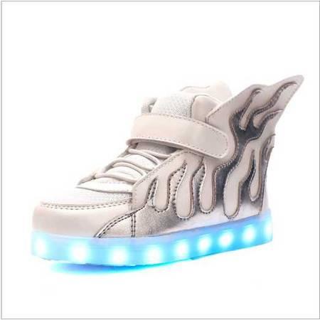 荧光夜光鞋 USB接口LED七彩发光高帮儿童灯鞋