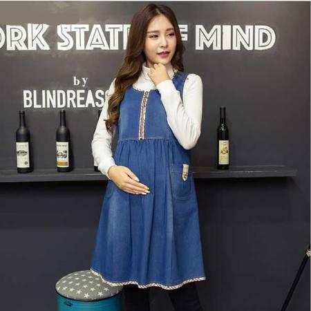韩版孕妇秋装新款背带连衣裙无袖中长款时尚牛仔拼接孕妇裙子