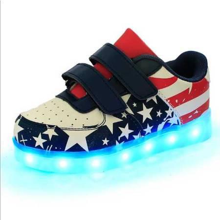 充电儿童发光鞋国旗LED速卖通爆款魔术贴荧光鞋
