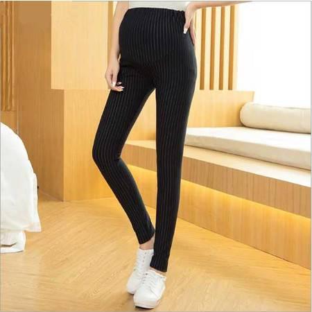 韩国孕妇裤春秋纯棉新款时尚条纹修身孕妇小脚裤托腹潮流长款