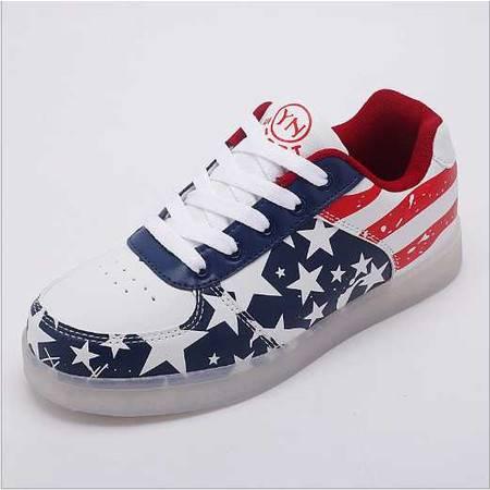 新款情侣灯鞋国旗星星灯光鞋男女通用led发光鞋USB充电鞋